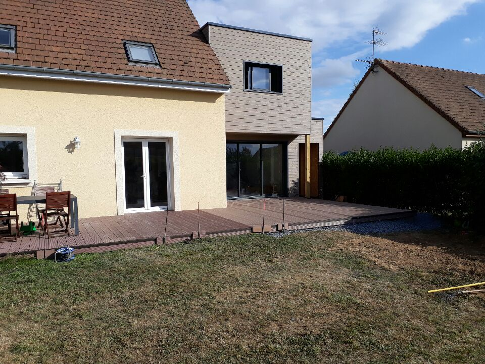 R alisations maisons d 39 int rieur caen ossature bois for Extension terrasse couverte