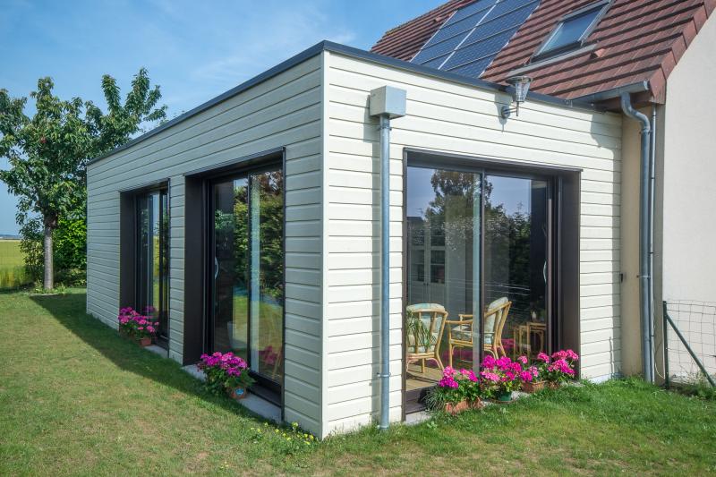Extension en ossature bois colleville calvados for Prix d une extension de maison en bois